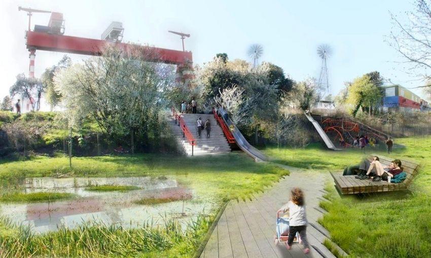 Un espace public sera aménagé pour permettre aux promeneurs de profiter du spectacle de la construction des paquebots. Vue non-contractuelle.