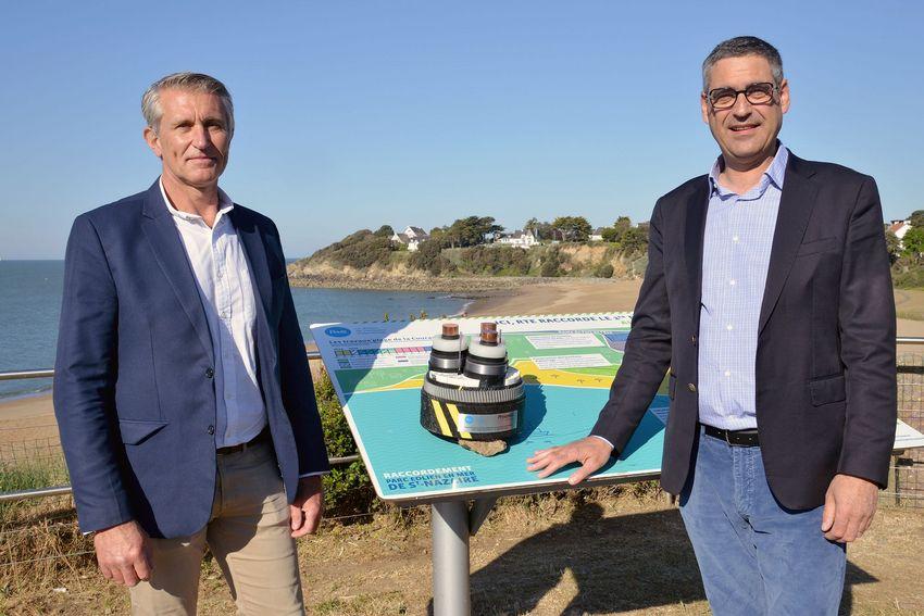 Hervé Macé, directeur de projet chez RTE et Christophe Cotta, adjoint au maire de Saint-Nazaire.