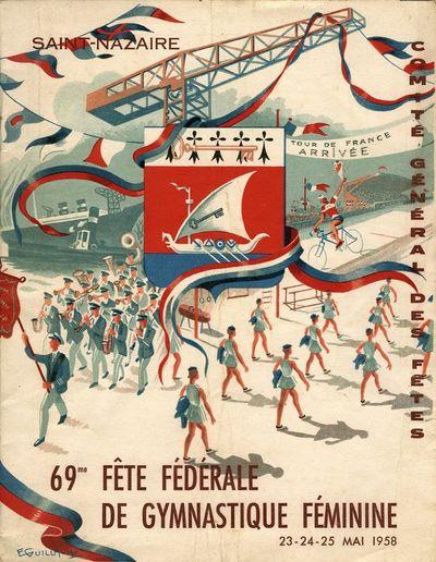 Couverture d'une brochure du programme du comité des fêtes de Saint-Nazaire. Dessin d'Émile Guillaume.