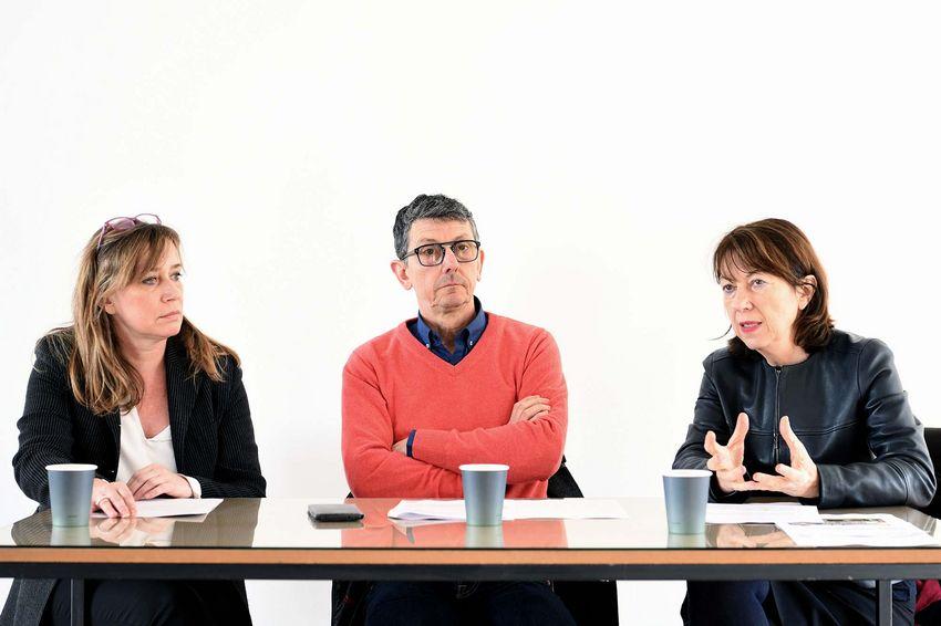 La directrice du Grand Café Sophie Legrandjacques, l'adjoint à la Culture de Saint-Nazaire Jean-Jacques Lumeau, la directrice régionale des affaires culturelles Nicole Phoyu-Yedid (©Ville de Saint-Nazaire - Martin Launay)