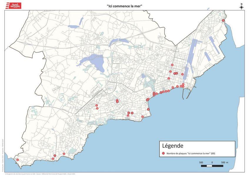 Carte d'implantation des plaques Ici commence la mer