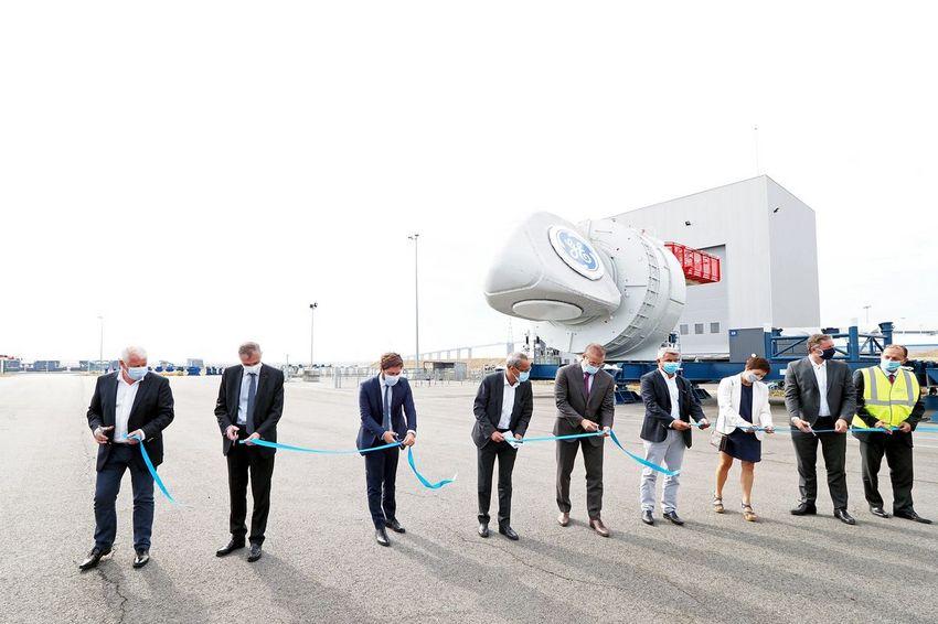 Inauguration de la première nacelle du futur parc éolien en mer de Saint-Nazaire. (©Ville de Saint-Nazaire - Martin Launay)