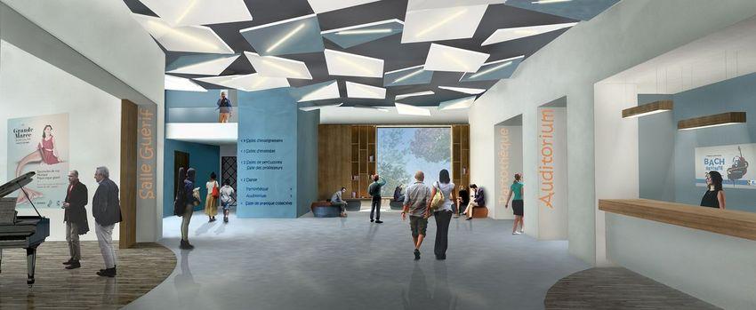 Perspective du Hall de l'Auditorium du conservatoire Boris Vian rénové (©Archidev architectes)