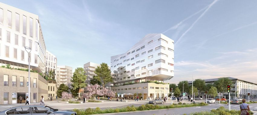 Projet Linkcity Perspective depuis la gare © Tolia+Gillliland pour LinkCity