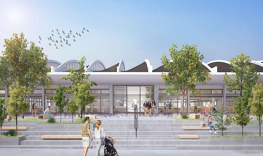 Des façades transparentes qui permettront de voir l'intérieur du marché. © Ferret Architectes.