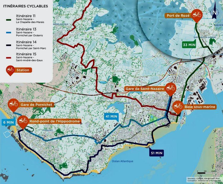 La carte des stations et des itinéraires cyclables envisageables.