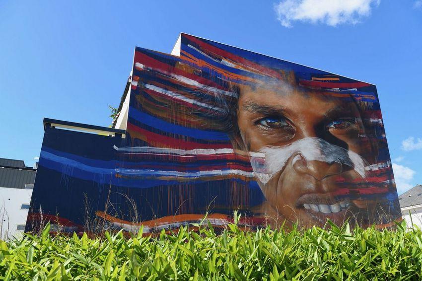 Portrait d'une jeune aborigène, Matt Adnate 2018 - Immeuble Caraïbes en face du Théâtre.