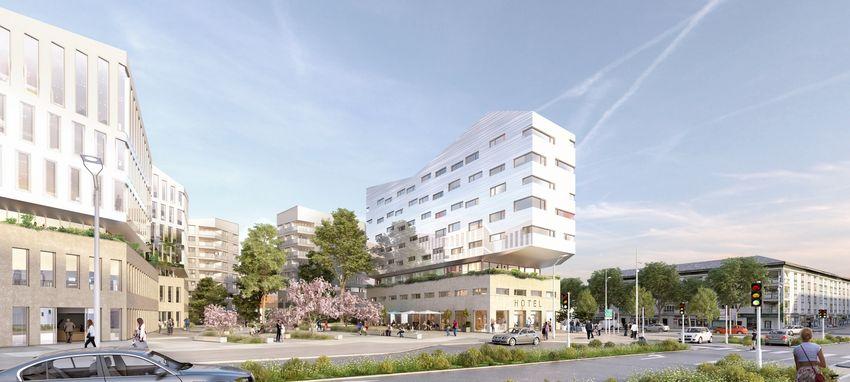 Un nouveau quartier autour de la gare TGV rénovée verra le jour en 2020 avec un hôtel-restaurant de 110 chambres (2 et 3 étoiles), des commerces, des bureaux et 40 logements. © Tolia+Gilliland pour Linkcity