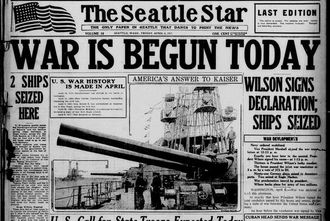 "Source : Chronicling America / Library of Congress ""La guerre commence aujourd'hui"" - Une du journal Seattle Star du 6 avril 1917"