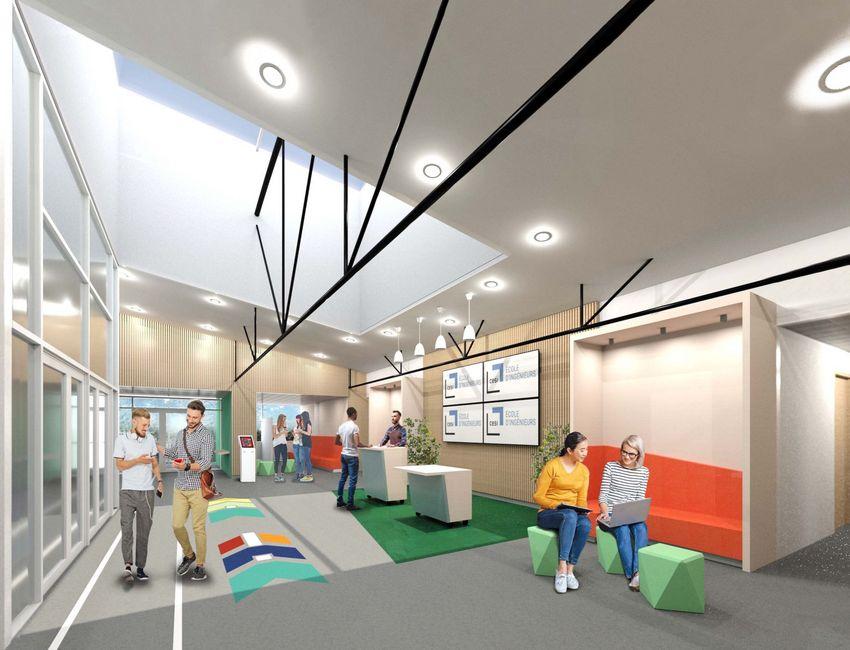 Le futur hall de l'école CESI au premier étage du Paquebot © Architectures Chabenès & Scott / trois déclic