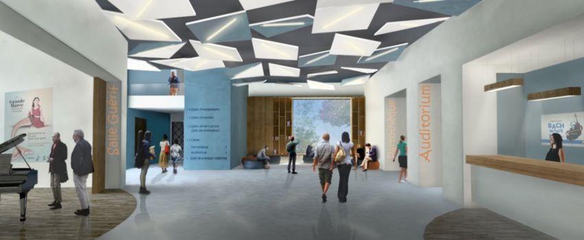 Un vaste hall permettra de rapprocher les pratiques artistiques. Crédit: Archidev Architectes.