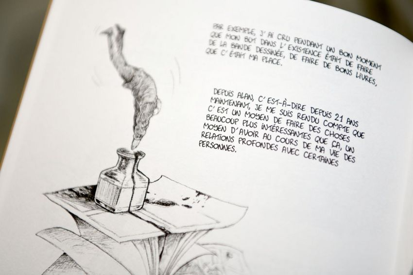 """Une page de l'ouvrage """"Entretien avec Emmanuel Guibert"""" de Bettina Egger, Jarjille Editions (©Ville de Saint-Nazaire - Martin Launay)"""