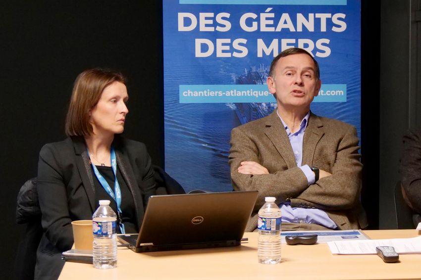 Béatrice Gouriou, directrice des Ressources humaines des Chantiers de l'Atlantique, et Laurent Castaing, Directeur général. (©Ville de Saint-Nazaire)