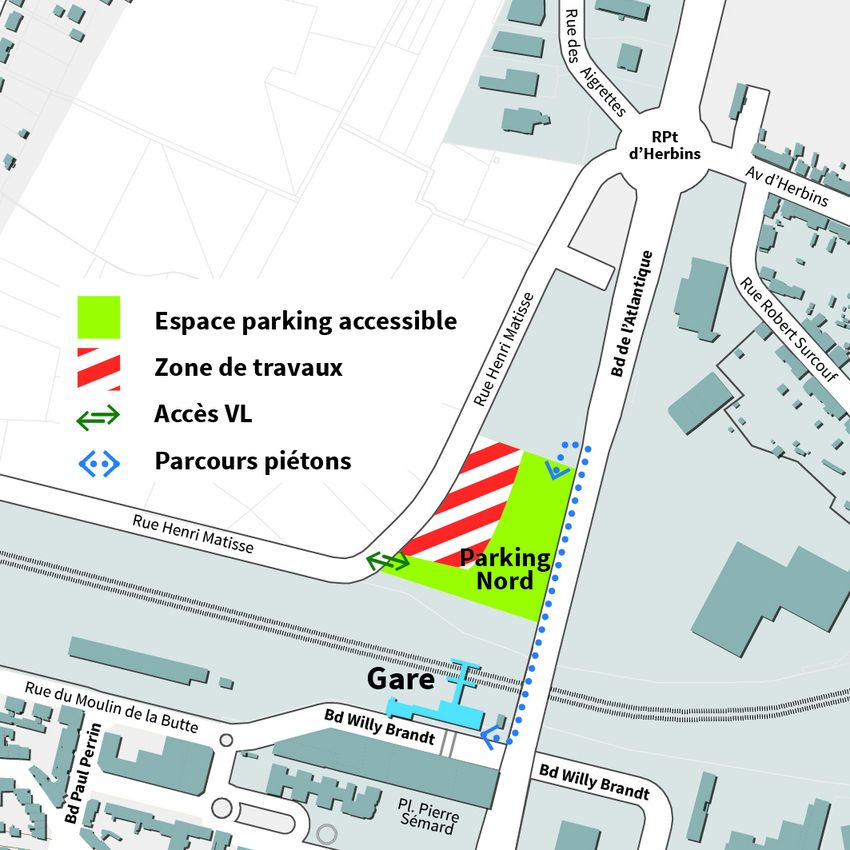 Carte de la gare de Saint-Nazaire en travaux