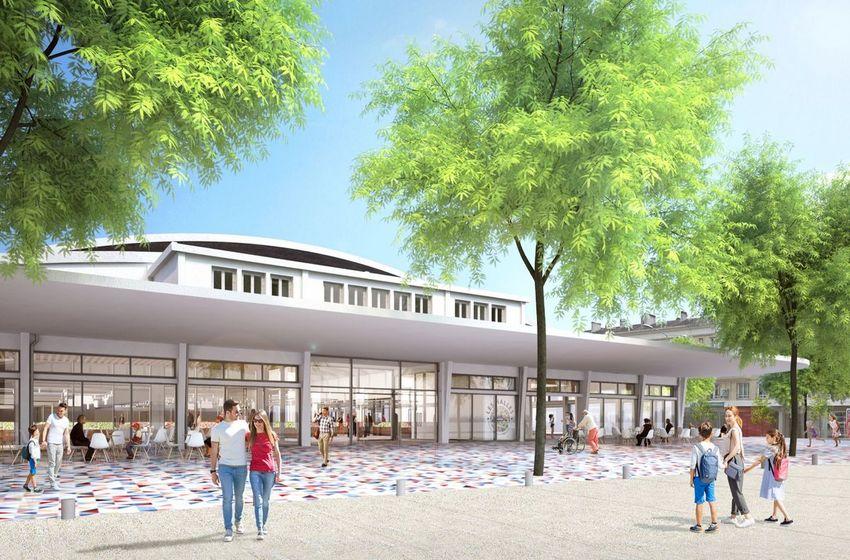 L'entrée principale des futures Halles du centre ville de Saint-Nazaire. © Ferret Architectes