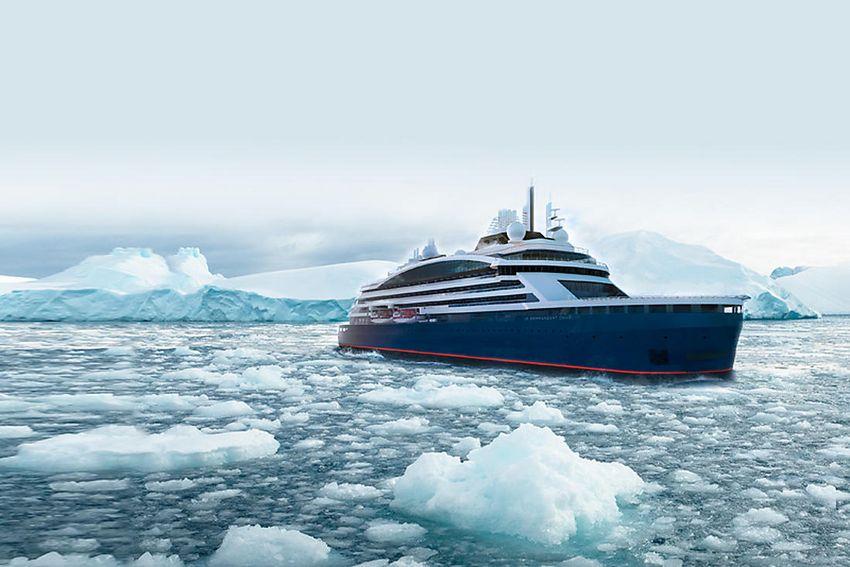 Le Commandant Charcot, premier navire d'exploration polaire hybride électrique propulsé au GNL, proposera des croisières de luxe sur les traces des grands explorateurs polaires, dans les zones extrêmes des hémisphères Nord et Sud. (©Ponant)