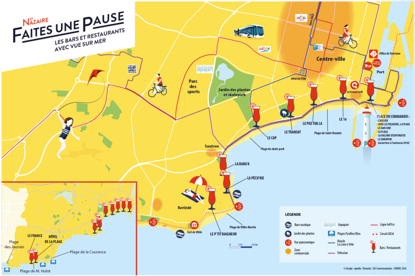 Les bars et restaurants avec vue sur mer à Saint-Nazaire.