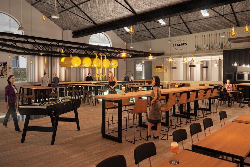 Le projet de bar-brasserie dans l'usine élévatoire (©Architectes Barré-Lambot/B2A)