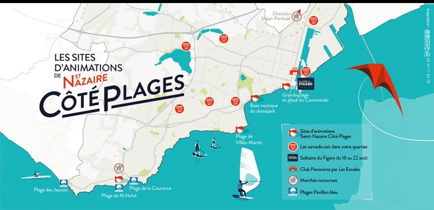 La carte de Saint-Nazaire côté plages 2021