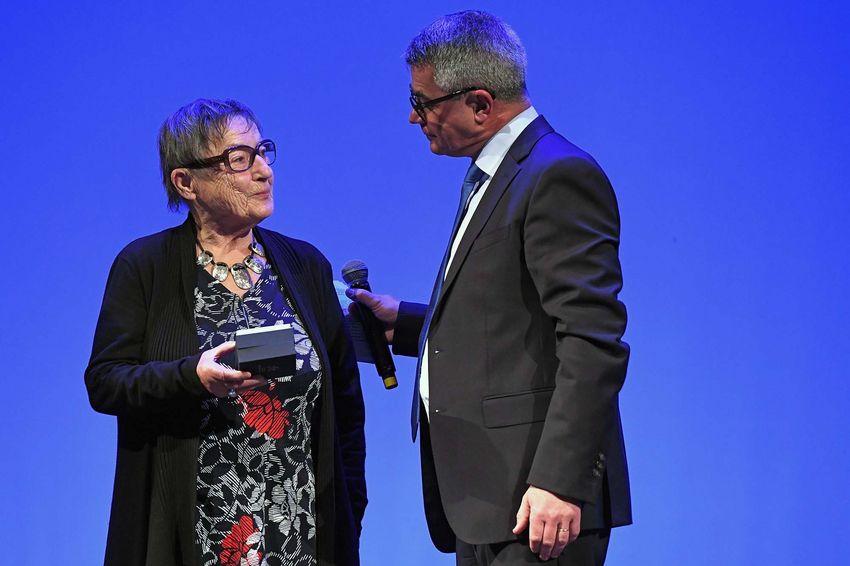 Bernadette Lucas avec David Samzun, maire de Saint-Nazaire.
