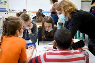 Les élèves de l'école Lamartine à Saint-Nazaire se sont également engagés dans ce travail de mémoire. Photo Christian Robert - Ville de Saint-Nazaire