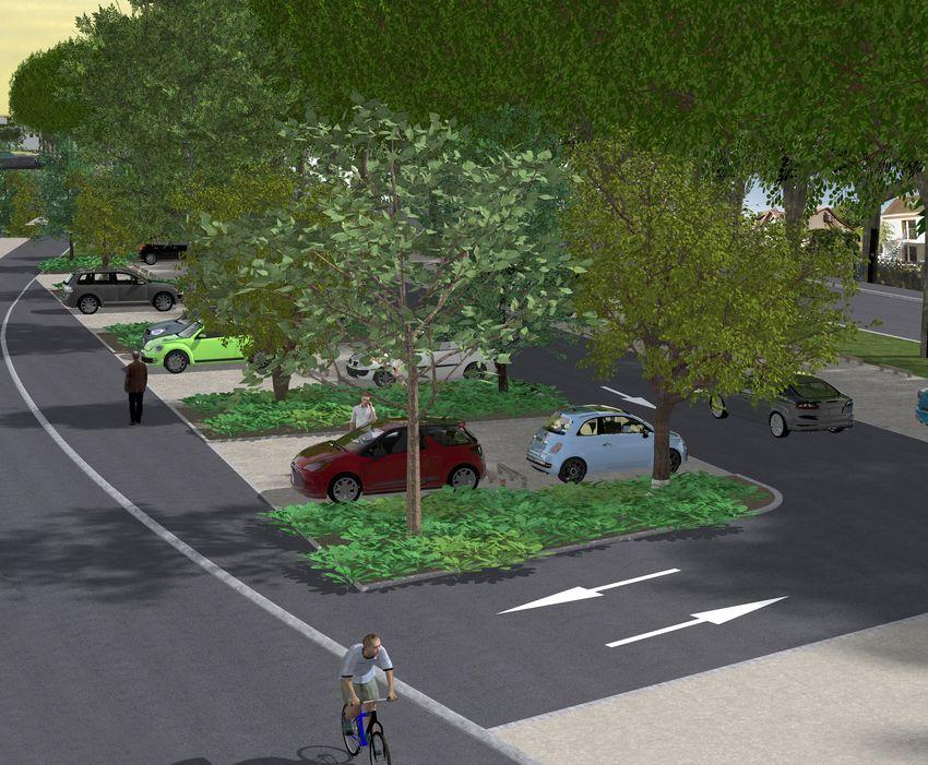Vue du futur parking de la contre-allée de Saint-Nazaire - © Bureau d'études aménagement urbain, Ville de Saint-Nazaire