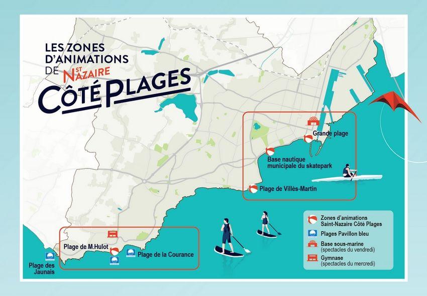 Saint-Nazaire côté plages 2020 - La carte