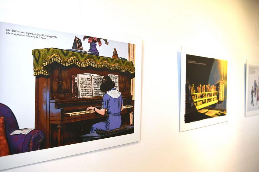 Exposition des planches d'Emmanuel Guibert à la médiathèque (©Ville de Saint-Nazaire - Martin Launay)