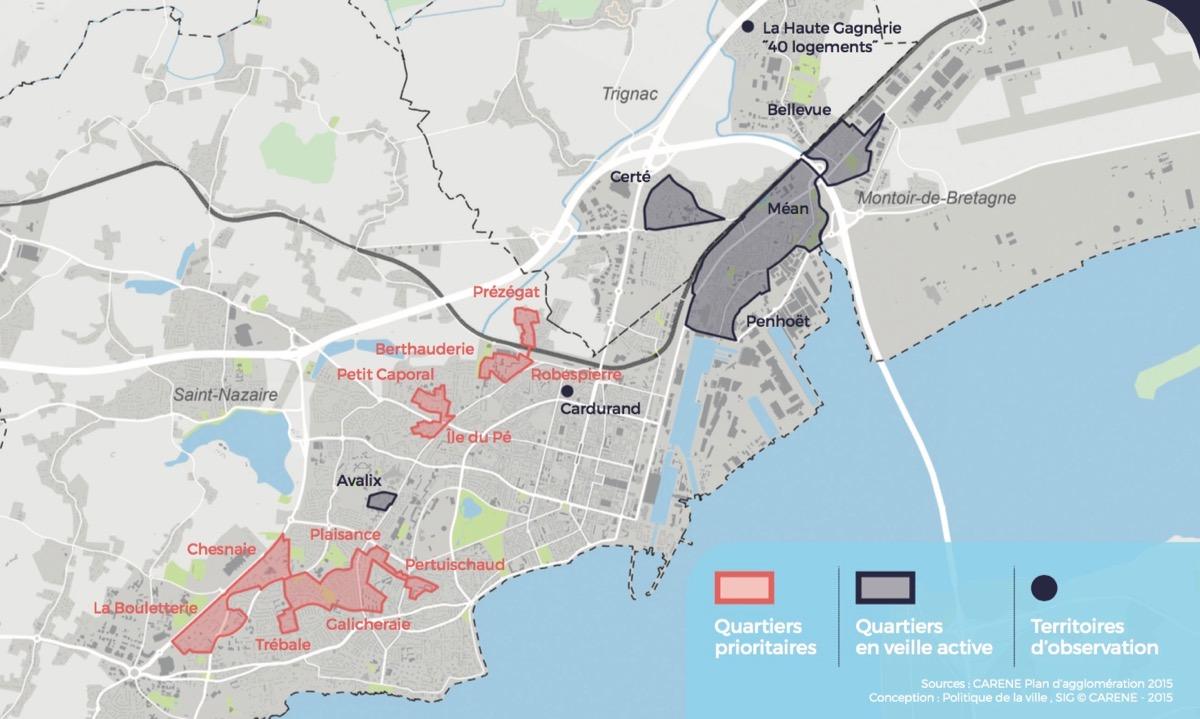 Les quartiers prioitaires à Saint-Nazaire