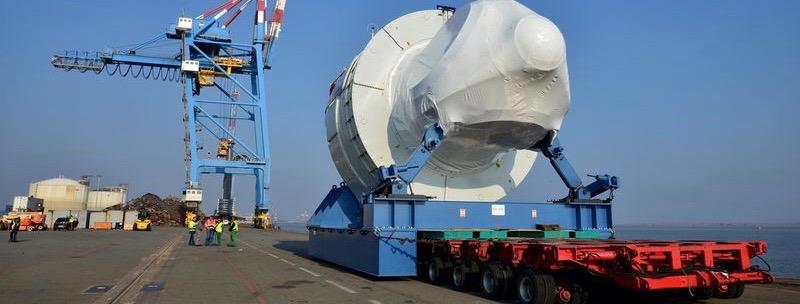 La turbine et la nacelle de l'éolienne des Haliades 150 qui équiperont la champ off shore au large de Saint-Nazaire