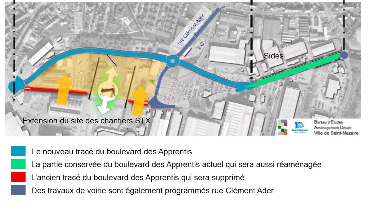 Le schéma de déplacement du boulevard des Apprentis;