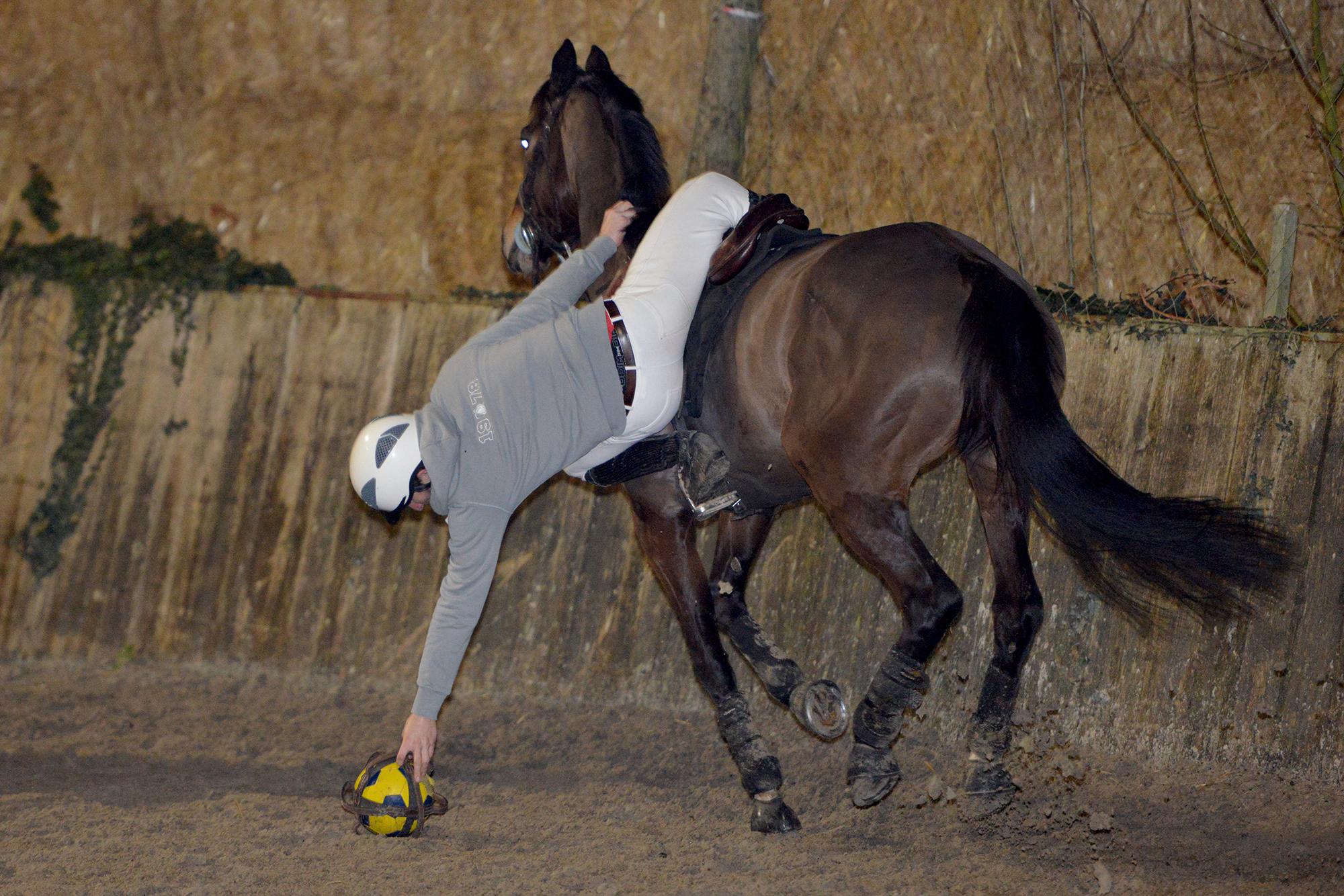 Au horse-ball, les cavaliers se penchent de manière acrobatique pour ramasser le ballon. (©Ville de Saint-Nazaire - Christian Robert)