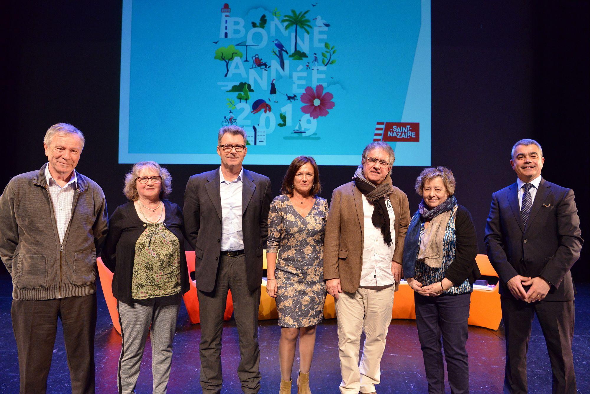 De gauche à droite : Michel Mahé, Germaine Glotin Gallen, Christian Pierre, Jacqueline Régnier, Philippe Bommé, Olga Ménager et David Samzun.