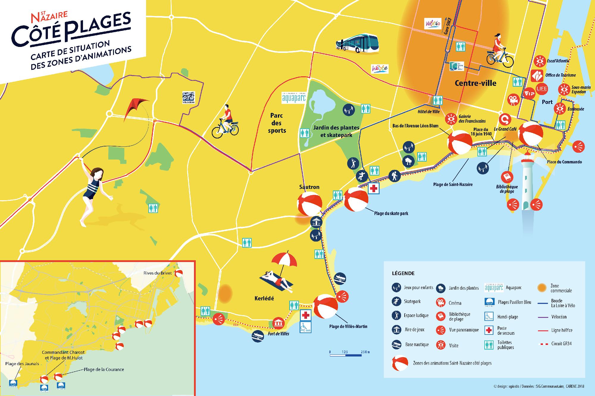 Saint-Nazaire côté plage 2018 : la carte
