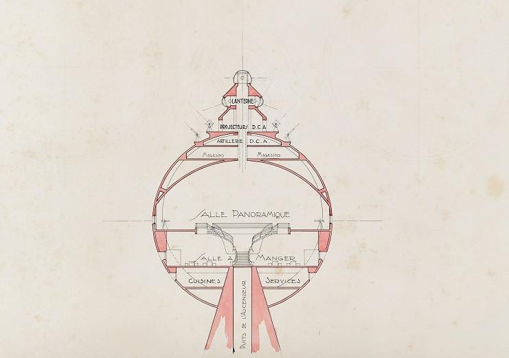 Coupe de la sphère panoramique / Jacques Dommée, v.1940
