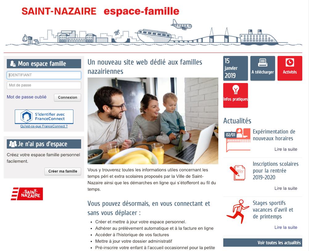 Le nouveau site web Espace famille